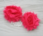 Shabby Chic Frayed Hot Pink Chiffon Rosette Set Flower