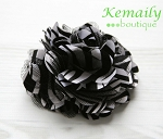 Zebra and Black White Satin and Tulle Mesh Puff Flower Hair Clip
