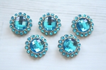 5 Pack Turquoise Acrylic Rhinestone Buttons 26mm