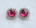 2 Pack 2 Tone Fuschia Clear Acrylic Rhinestone Buttons 26mm