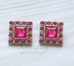 Pink Square Acrylic Rhinestone Buttons 28mm