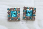 Turquoise and Lavender Square Acrylic Rhinestone Buttons 28mm
