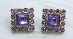 Purple Square Acrylic Rhinestone Buttons 28mm