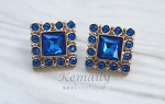 Royal Blue Square Acrylic Rhinestone Buttons 28mm