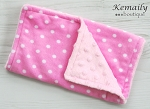 Hot Pink Polka Dot Double Baby Minky Burp Cloth