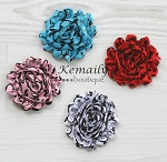 Damask Chiffon Rosette HairBow Clips YOU CHOOSE