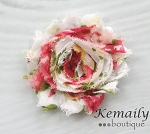 Vintage Rose Chiffon Rosette HairBow Clips