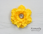 Yellow Rhinestone Flower Hair Clip