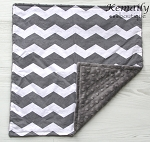 Grey Chevron Lovey Minky Blanket