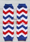 Red Blue White Chevron Leg Warmers