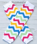 Rainbow Chevron Girls Leg Warmers