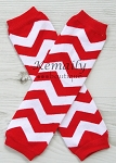 Red Chevron Girls Leg Warmers