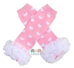 Pink with White Hearts Chiffon Ruffle Leg Warmers