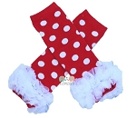 Red White Polka Dot Chiffon Ruffle Leg Warmers
