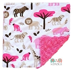 Girls Jungle Animal Lovey Minky Blanket