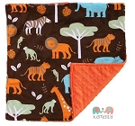 Boys Jungle Animal Lovey Minky Blanket
