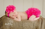 Hot Pink Flower Baby Headband and Chiffon Ruffle Bloomers  Girl Newborn Outfit