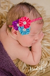Hot Pink Turquoise Satin Rhinestone Flower Baby Headband