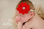 Red Vintage Rhinestone Flower Baby Headband