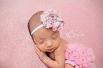 Pink Grey Chevron Chiffon Flower Baby Headband