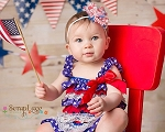 Patriotic Red White Blue Flower Headband