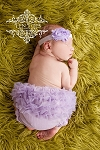 Lavender Chiffon Satin Baby Headband and Matching Ruffle Bloomer