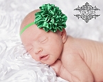 Green Satin Puff Glitter Baby Headband