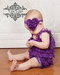 Purple Chiffon Rosette Heart Baby Headband