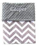 Personalized Grey Chevron on Grey Dot Minky Baby Blanket