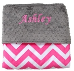 Personalized Hot Pink Chevron Double Minky Baby Blanket, Baby Shower, Baby Gift, Toddler Bedding, Super Soft Blanket