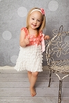 Coral and White Lace Baby Dress