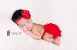Red Satin Puff Skinny Baby Headband and Matching Ruffle Bloomers Set