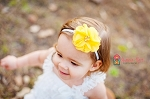 Yellow Pearl and Rhinestone Flower Baby Headband
