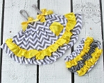 Grey Chevron with Yellow Swing Top Set