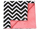 Black Chevron on Coral Double Minky Baby Blanket