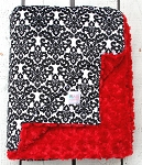 Black Damask on Red Rosette Double Minky Baby Blanket