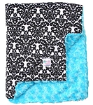 Black Damask on Turquoise Rosette Double Minky Baby Blanket