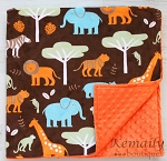 Boys Jungle Animal Double Minky Baby Blanket,  Baby Shower, Gift, Bedding, Throw Blanket, Nursery, Travel, Baby Boy, Stroller Blanket