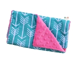 Burp Cloths Turquoise Arrow Minky Burp Cloth on Hot Pink - Baby Shower Gift - Burp Rag - Nursing - Newborn Essentials - New Mom Gift