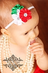 Red Green White Satin Flower Baby Headband