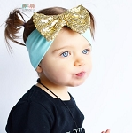 Gold Bow Mint Dot Baby Headband