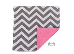Grey Chevron on Hot Pink Minky Newborn Baby Lovey