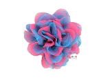 Hot Pink and Turquoise Chiffon Shabby Chic Frayed Chiffon Flower