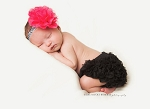 Hot Pink Damask Baby Headband and Ruffle Bloomers Set