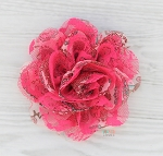 Hot Pink Peacock Chiffon Shabby Chic Frayed Chiffon Flower