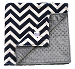 Navy Chevron on Grey Double Minky Baby Blanket