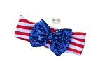 Patriotic Red White Blue Sequin Bow Dot Baby Headband