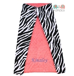 Personalized Baby Blanket Zebra on Coral Double Minky Baby Blanket
