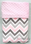 Pink and Grey Multi Chevron Minky Baby Blanket, Baby Shower, Baby Gift, Newborn, Bedding, Security Blanket