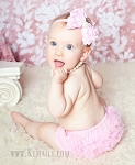 Pink Rosette Bow Baby Headband and Pink Chiffon Ruffle Bloomers Set